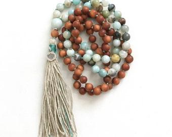 108 Bead Mala, Sandalwood and Amazonite Mala Necklace, Lotus Mala Beads, Knotted Mala Necklace, Choose Your Charm, Yoga Mala Beads