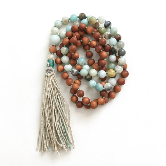 108 Bead Mala, Sandalwood and Amazonite Mala Necklace, Lotus Mala Beads, Knotted Mala Necklace, Choose Your Charm, Yoga Mala Beads
