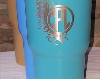 Personalized Powder Coated Tumbler (Mug). Laser Engraved Peacock Feather Monogram. Choose from 22 tumbler colors. Perfect for gift giving..