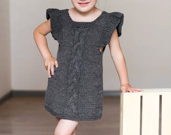 Knitted winter tunic for a little girl, dark grey tunic, 3-4 year old, knitted winter dress, warm tunic, knitted dress, short sleeve top