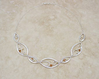 Silver and Orange Sapphire Necklace with 18K gold, Silver Sapphire Necklace, Statement Necklace, Eveningwear Necklace