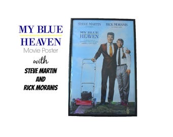 "1990 MY BLUE HEAVEN Original Movie Poster 40""X 27"" Steve Martin Rick Moranis Joan Cusack Crime Comedy 90s 1990s Gangster Film Federal Agent"