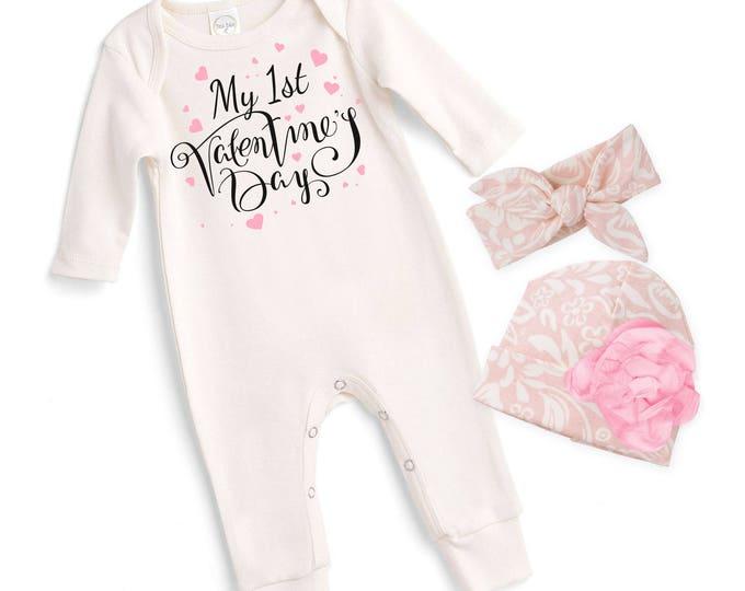 Newborn My First Valentines Romper Pink, Baby Girl Valentine Bodysuit, Infant Girl Valentines Onesie, 1st Valentine Baby Romper, Tesababe