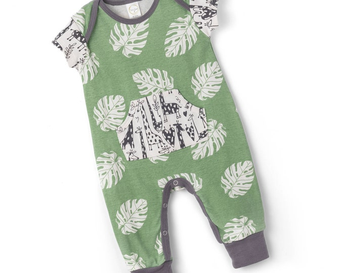 SPRING SALE! Newborn Baby Onesie Outfit Summer, Baby Girl Green Pocket Romper, Infant Neutral Romper Green Leaves, Newborn Baby Tesa Babe