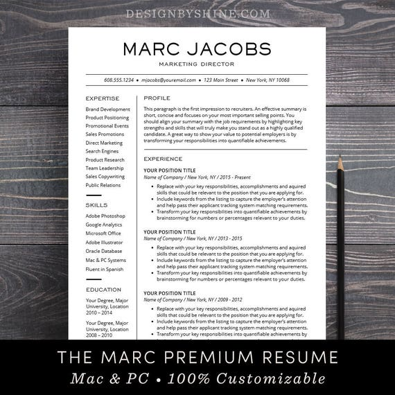 Modern Resume Template   CV Template For Pages, Word Professional Design,  Free Cover Letter, Creative, Modern, Teacher   The Marc  Concise Resume Template