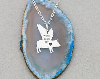 Flying Pig Necklace Memorial Pig Loss • Pet Pig Gift Jewelry Pig Lover • Piglet Farm Animal Gift • Winged Pig Charm When Pig Fly