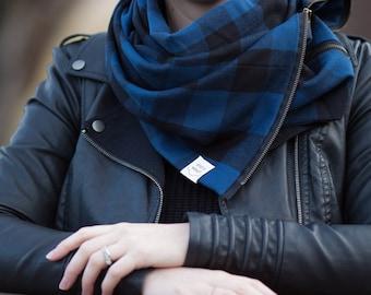 Blue Plaid Zipper Scarf