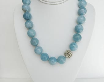 18mm Natural Aquamarine Beaded Necklace with Sterling Silver Toggle Clasp and Swarovski Pave Ball