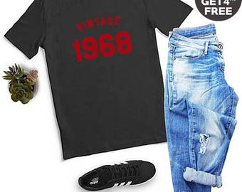 Vintage Tees 50th Birthday For Gifts Shirt 1968 Birthday Tshirt Gifts Dad Shirt Mom Gifts Family Tshirt Women Birthday Tees Men Shirt Women