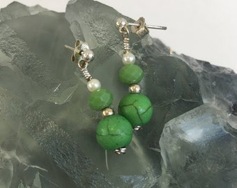 Green Turquoise Earrings - Glass pearl, sterling silver