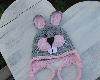 Crochet bunny hat, Luv Beanies, Easter Bunny Hat, Animal hats, Hats for kids, Girls hats, Hats for Girls, Gray Bunny hat ,Photo Prop