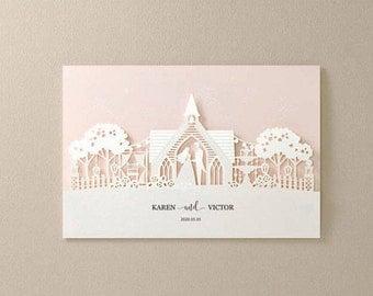 peach laser cut wedding invitations chapel wedding invitation all in one invitation rsvp free - Peach Wedding Invitations