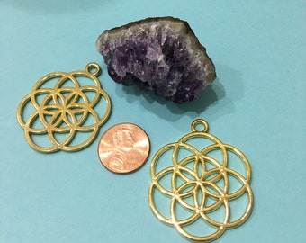 Seed of Life SET of TWO (02) Gold Plated Pendant-Charms