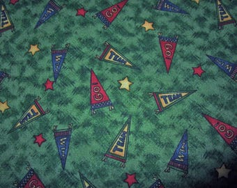 Team PENNANTS Football Baseball Go Win Green Grass Sports Stars Fabric Debbie Mumm ~ BTY