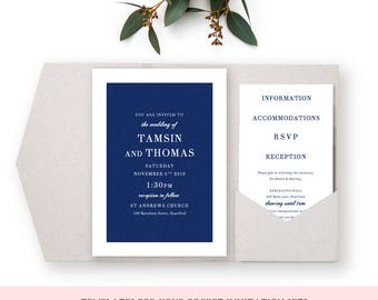 Navy Wedding Invitation Pocket Templates, Navy Blue, Printable Wedding Invitations and enclosure cards | Edit in WORD or PAGES