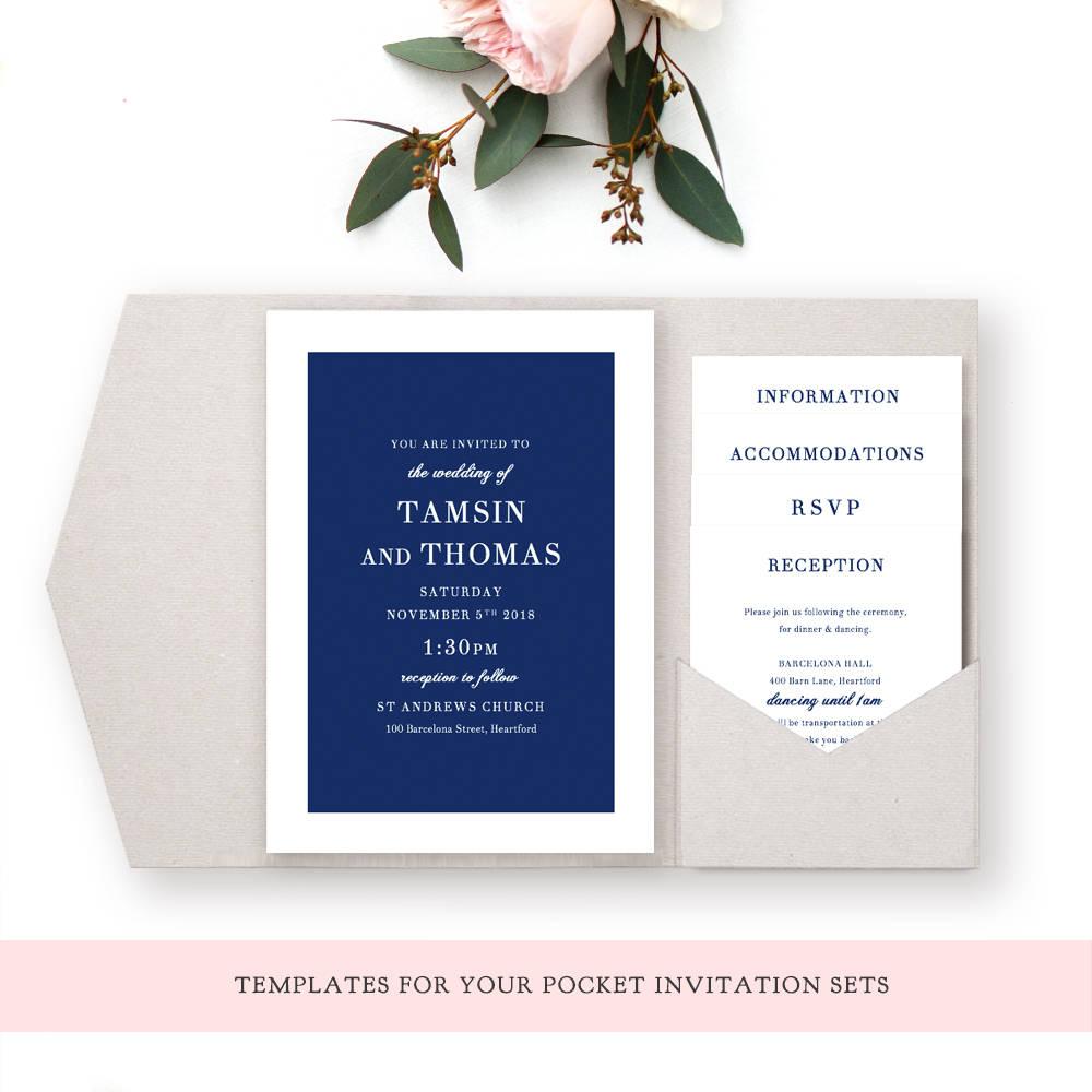 Edit Wedding Invitation Card: Navy Wedding Invitation Pocket Templates, Navy Blue