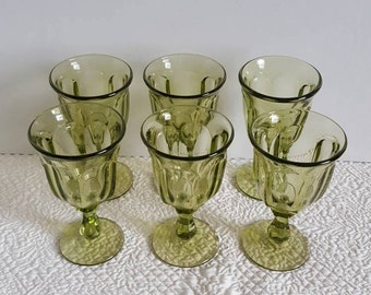 Set of 6 Wine Glasses from Indiana Glass - Ohio, Old Williamsburg Pattern in Verde Green