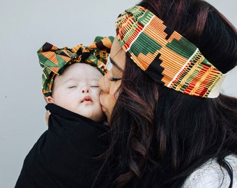 Orange Kente Headwrap, Kente Fabric Headband, Mommy and Me Headwrap Set, Mommy and Me Headband, African Head Wraps For Women, African Print
