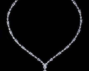 Wedding jewelry sterling silver party necklace AAA cubic zirconia collar necklace choker evening wear
