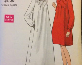 Vogue 7450 - 1960s A-Line Maternity Dress in Knee or Evening Length with Front Tucks and Pointed Collar - Size 8 Bust 31.5
