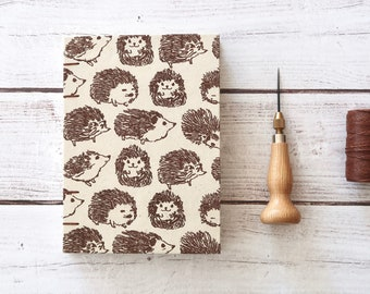 Hedgehog Coptic Notebook Blank Book Writing Journal Travel Journal Coptic Journal Hardcover Hand Bound 160 Lined Cream Pages