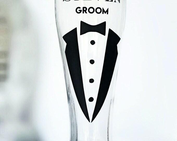 Personalized Pilsner Glasses, Custom Beer Glass, Custom Beer Glass, Groomsmen Gift, Groomsmen Glass, Personalized Beer Glasses, Groomsman