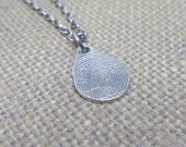 INK print-Small Teardrop FINGERPRINT Necklace in .925 Sterling SILVER precious charm on a Sterling Silver Chain EnGRAVED