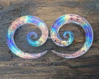 "1 Pair - Translucent Light Blue Translucent Rainbow Dichroic Glass Super Spirals 10g 8g 6g 4g 2g 0g 00g 7/16"" 1/2"" 9/16"" 5/8""  3 mm  - 16 mm"