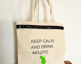 Tote bag/bag shopping Keep Calm and Drink Mojito band sequins glitter black, chic, reusable, eco-friendly