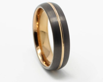 Gunmetal Rose Gold Tungsten Wedding Band Comfort Fit 6MM Width Anniversary Gift