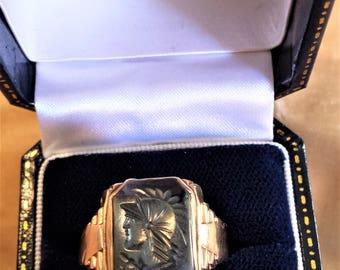 10K Gold Ring Hematite Intaglio