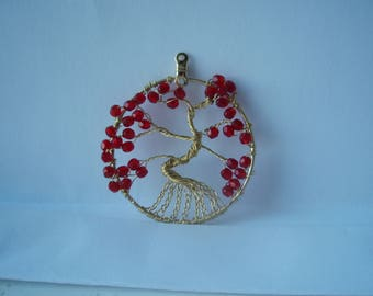 Ruby red glass beads Tree of Life Pendant