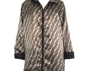 FENDI Zucca Vintage Logo Coat Brown Monogram FF Print Reversible Zip Jacket Coat High Collar 90s Parker Zucca