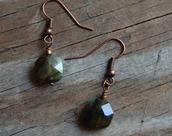Antiqued Copper with Faceted Smoky Quartz Minimalist Dangle Earrings