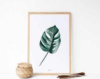 Pinturas en acuarela: Hojas tropicales, tonalidades calidad. Decoración tropical.  Hojas originarias de América del sur.