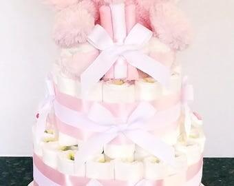 Baby Girl Elephant diaper cake
