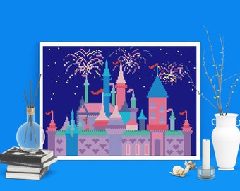 Disney cross stitch pattern PDF, Disney castle nursery wall art decor, Modern cross stitch pattern Disneyland, Baby cross stitch, Firework
