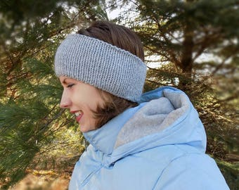 Knitted Light Gray Women's/Teen's Ear Warmer, Women's/Teen's Knitted Winter Headband in Light Gray-double thickness
