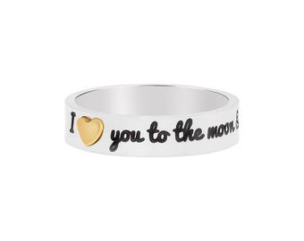 I Love You To The Moon And Back With IP Gold Plated Heart Stainless Steel Stackable Band Ring