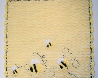 Bumble Bee Baby Blanket, Crocheted Baby Blanket, Yellow Baby Blanket, Cozy Baby Blanket, Bumble Bee Embroidered Blanket