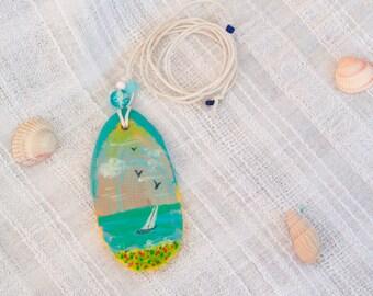 Teal White boho wood folk Necklace ocean beach art Romantic Seascape Pendant Sea color wedding original artisan wood jewelry eco wooden gift