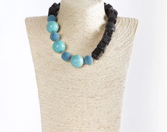 Necklace with turquoise, paste Etna lava, black salomite