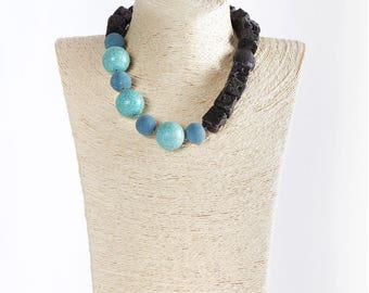 Etna lava necklace, turquoise, black salomite