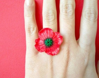 Poppies-adjustable ring with fimo/handmade polymer clay poppy