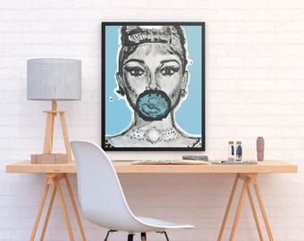 ALI - Double Blue Audrey Hepburn poster print perfect to decor your home or office (MEGA Limited Edition)