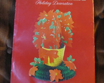 """Vintage Poinsettia Holiday Decoration Paper Centerpiece 12.5"""" Tall by American Greetings circa 1979 NOS UNOPENED! Honeycomb Tissue Paper"""
