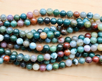 8mm Indian Agate beads, full strand, natural stone beads, round, 80039