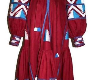 Vyshyvanka Dress Ethnic Ukrainian dresses Custom Embroidery Bohemian Clothes Vishivanka Kaftan Abaya Caftan Red linen Boho Clothing