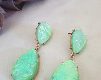 opal look earrings, pale green jewellery, green dangle earrings, evening wear, green opals