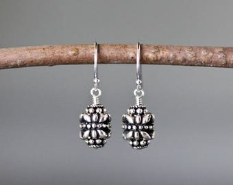 Bali Silver Earrings - Wire Wrapped Earrings Silver - Everyday Silver Jewelry - Bali Jewelry - Small Silver Earrings - Metal Earrings - Gift